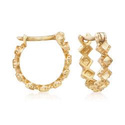 Child's 14kt Yellow Gold Multi-Square Huggie Hoop Earrings, , default