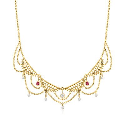 C. 1950 Vintage Cultured Pearl, .30 ct. t.w. Ruby and .20 Carat Diamond Drop Collar Necklace in 18kt Yellow Gold