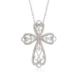".55 ct. t.w. CZ Open Scrollwork Cross Pendant Necklace in Sterling Silver. 18"", , default"