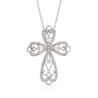 .55 ct. t.w. CZ Open Scrollwork Cross Pendant Necklace in Sterling Silver, , default
