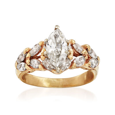 C. 1980 Vintage 2.40 ct. t.w. Marquise Diamond Ring in 14kt Yellow Gold, , default
