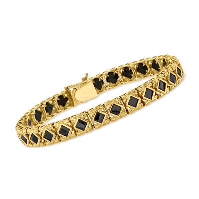 C. 1990 Vintage Black Onyx Bracelet in 14kt Yellow Gold