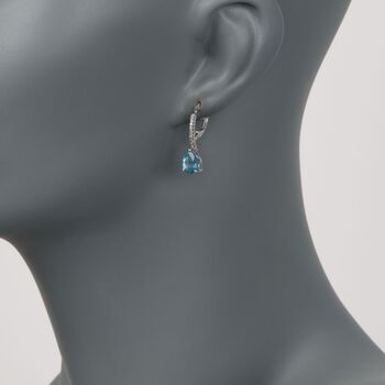 2.45 ct. t.w. Blue Topaz Drop Earrings With Diamond Accents in 14kt White Gold , , default