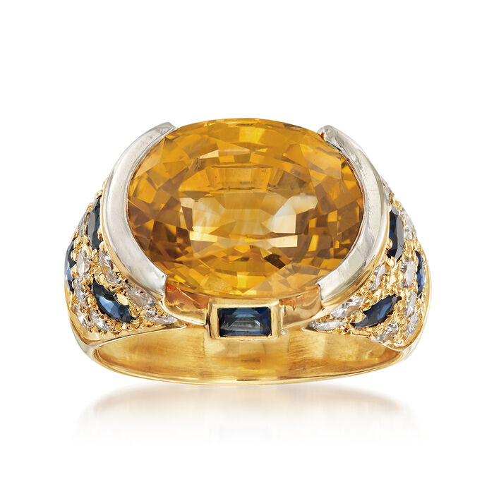 C. 1990 Vintage 9.45 ct. t.w. Yellow and Blue Sapphire Ring with 1.00 ct. t.w. Diamonds in 18kt Yellow Gold. Size 6, , default