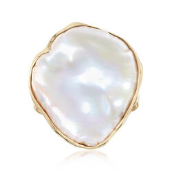 Cultured Baroque Keshi Pearl Free-Form Ring in 18kt Gold Over Sterling, , default