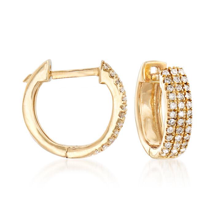 ".14 ct. t.w. Diamond Huggie Hoop Earrings in 14kt Yellow Gold. 3/8"", , default"