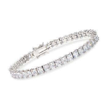 "15.00 ct. t.w. Princess-Cut CZ Tennis Bracelet in Sterling Silver. 7"", , default"