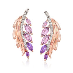 1.50 ct. t.w. Amethyst and .10 ct. t.w. Diamond Leaf Drop Earrings in 14kt Rose Gold, , default