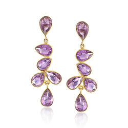 20.00 ct. t.w. Amethyst Drop Earrings in 18kt Gold Over Sterling, , default