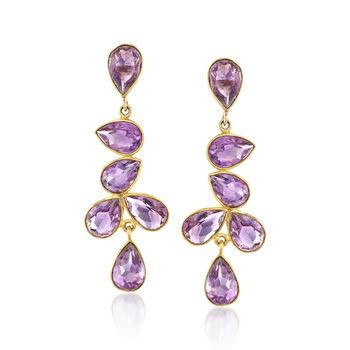 20.00 ct. t.w. Amethyst Drop Earrings in 18kt Gold Over Sterling , , default