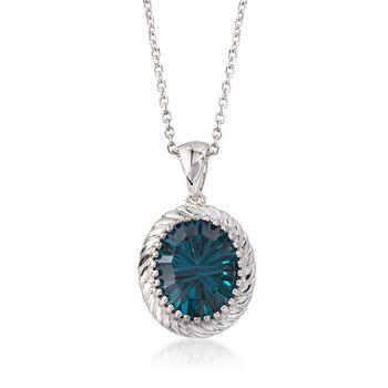 """5.50 Carat London Blue Topaz Frame Pendant Necklace in Sterling Silver. 18"""", , default"""