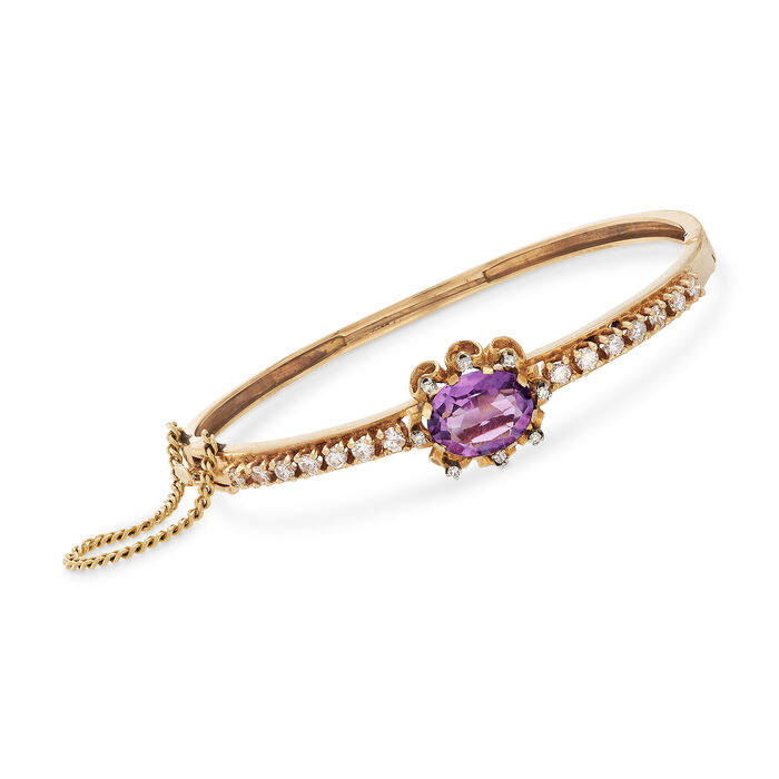 C. 1960 Vintage 4.10 Carat Amethyst and 1.25 ct. t.w. Diamond Bangle Bracelet in 14kt Yellow Gold. 7.5""