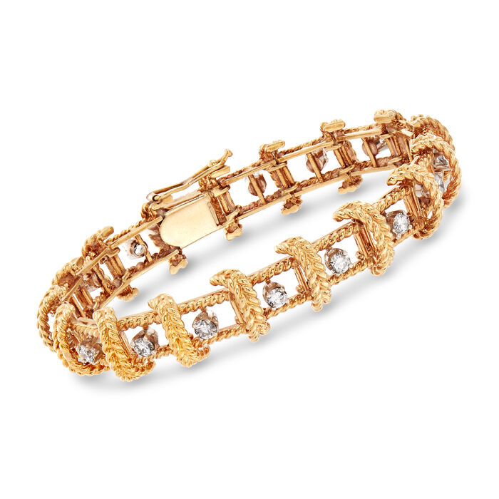 "C. 1970 Vintage 2.55 ct. t.w. Diamond Roped Bracelet in 18kt Yellow Gold. 7.25"", , default"