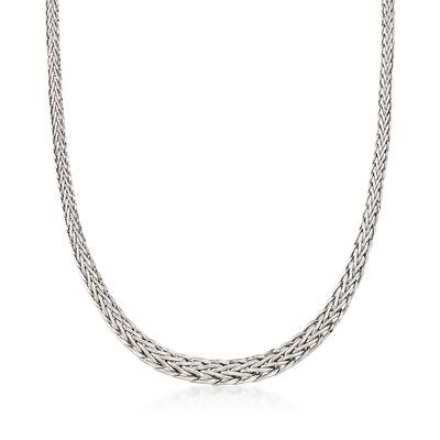 14kt White Gold Graduated Wheat-Link Necklace, , default