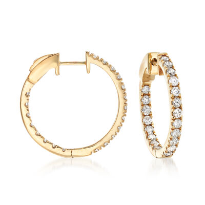1.50 ct. t.w. Diamond Inside-Outside Hoop Earrings in 14kt Yellow Gold, , default