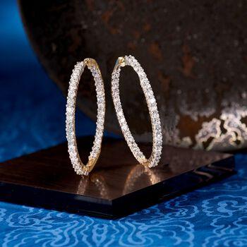 """5.00 ct. t.w. Diamond Inside-Outside Hoop Earrings in 14kt Yellow Gold. 1 1/2"""""""