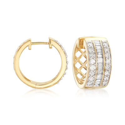 1.00 ct. t.w. Baguette and Round Diamond Hoop Earrings in 18kt Gold Over Sterling, , default