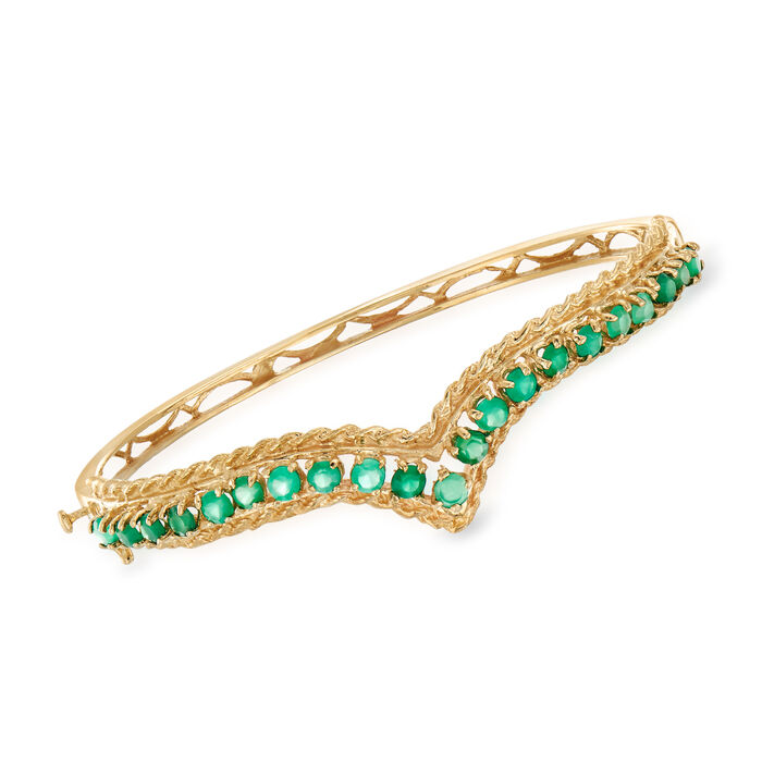 """C. 1970 Vintage 2.30 ct. t.w. Chalcedony Roped-Edge Bangle Bracelet in 14kt Yellow Gold. 7"""", , default"""