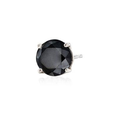 .50 Carat Black Diamond Single Stud Earring in Sterling Silver