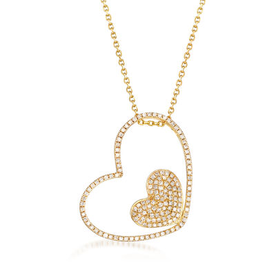 .60 ct. t.w. Pave Diamond Double Heart Open-Space Pendant Necklace in 14kt Yellow Gold, , default
