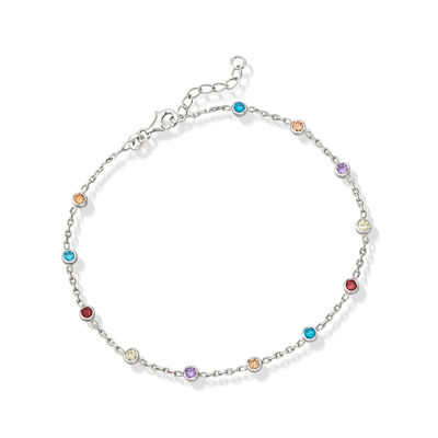 1.20 ct. t.w. Multicolored CZ Station Anklet in Sterling Silver, , default