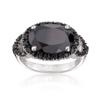 8.40 ct. t.w. Black Spinel Cocktail Ring in Sterling Silver, , default