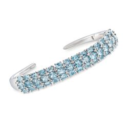 "8.80 ct. t.w. Aquamarine and .48 ct. t.w. Diamond Cuff Bracelet in Sterling Silver. 7"", , default"