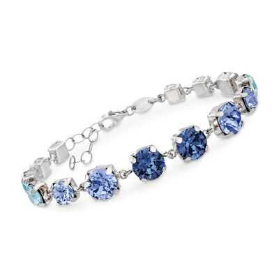 Italian Sterling Silver Bracelet with Tonal Blue and Clear Swarovski Crystals, , default