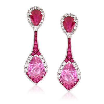 1.70 Carat Pink Sapphire and 2.50 ct. t.w. Ruby with .48 ct. t.w. Diamond Drop Earrings in 14kt White Gold, , default
