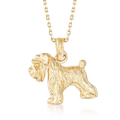 14kt Yellow Gold Schnauzer Dog Pendant Necklace, , default