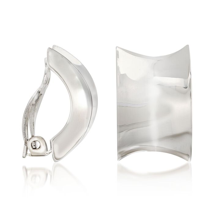 "Zina Sterling Silver ""Contemporary"" Concave Half-Hoop Clip-On Earrings. 7/8"", , default"