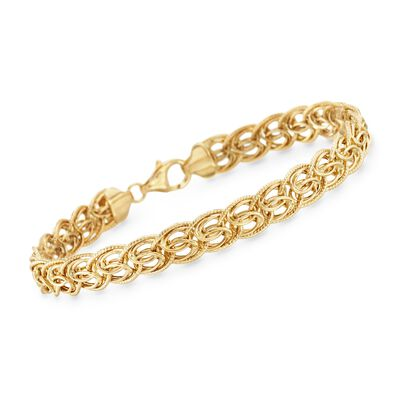 14kt Yellow Gold Textured and Polished Link Bracelet, , default