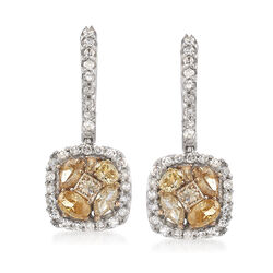1.05 ct. t.w. Yellow, Cognac and White Diamond Drop Earrings in 14kt White Gold , , default