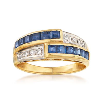 C. 1980 Vintage 1.20 ct. t.w. Sapphire and .10 ct. t.w. Diamond Bypass Ring in 18kt Yellow Gold