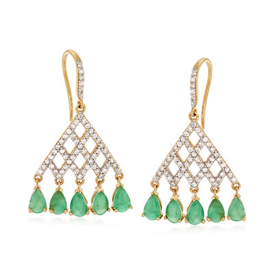 4.30 ct. t.w. Emerald and 1.10 ct. t.w. White Zircon Drop Earrings in 18kt Gold Over Sterling, , default