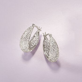 """1.25 ct. t.w. Diamond Inside-Outside Hoop Earrings in Sterling Silver. 7/8"""", , default"""
