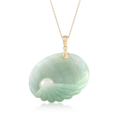 Green Jade Seashell and Cultured Pearl Pendant Necklace in 14kt Yellow Gold, , default