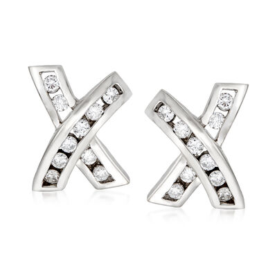 C. 1990 Vintage .50 ct. t.w. Diamond X Earrings in 14kt White Gold, , default