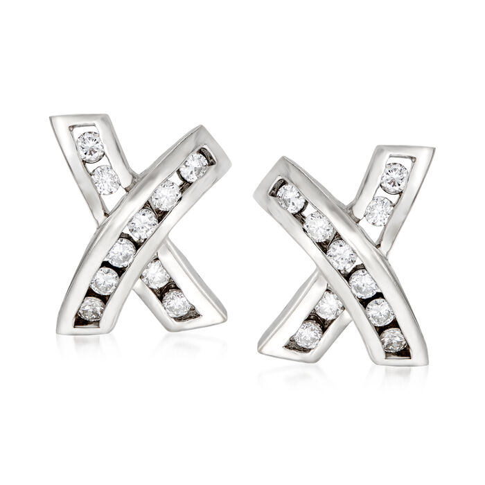C. 1990 Vintage .50 ct. t.w. Diamond X Earrings in 14kt White Gold