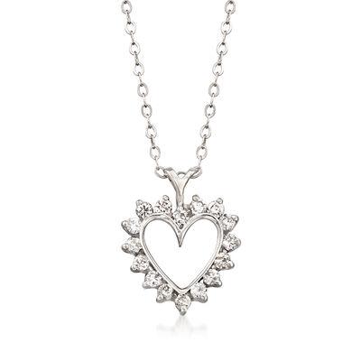 C. 1990 Vintage .50 ct. t.w. Diamond Heart Pendant Necklace in 14kt White Gold, , default