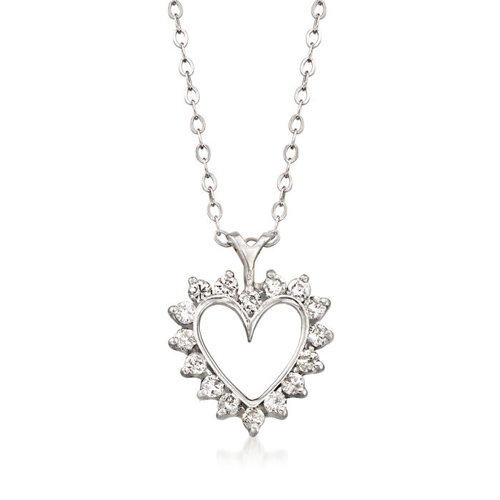 "C. 1990 Vintage .50 ct. t.w. Diamond Heart Pendant Necklace in 14kt White Gold. 18"", , default"