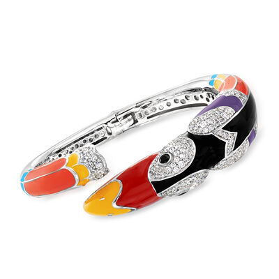 "Belle Etoile ""Toucan"" Multicolored Enamel and 4.23 ct. t.w. Black and White CZ Bypass Bracelet in Sterling Silver"