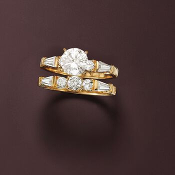 2.60 ct. t.w. CZ Bridal Set: Engagement and Wedding Rings in 18kt Yellow Gold Over Sterling
