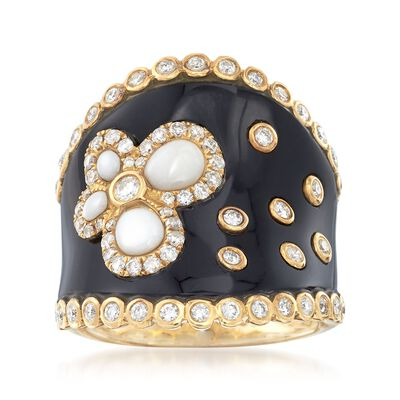 Black Onyx and White Agate Ring with Black Enamel and .70 ct. t.w. Diamonds in 18kt Yellow Gold, , default