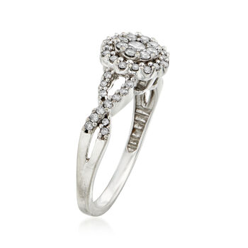 C. 1990 Vintage .50 ct. t.w. Diamond Cluster Ring in 10kt White Gold. Size 7, , default