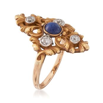 C. 1910 Vintage .25 Carat Sapphire and .33 ct. t.w. Diamond Ring in Platinum and 18kt Gold. Size 6.25, , default