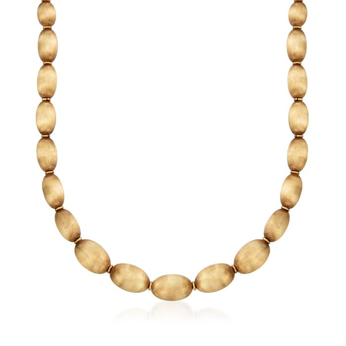 "C. 1960 Vintage 18kt Yellow Gold Textured Oval Bead Necklace. 18"", , default"