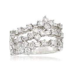 C. 1990 Vintage 1.70 ct. t.w. Round and Baguette Diamond Ring in 18kt White Gold , , default