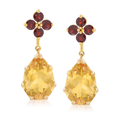 6.50 ct. t.w. Citrine and 1.20 ct. t.w. Garnet Floral Drop Earrings in 14kt Yellow Gold