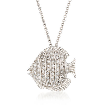 "Roberto Coin ""Tiny Treasures"" .25 ct. t.w. Diamond Fish Necklace in 18kt White Gold, , default"